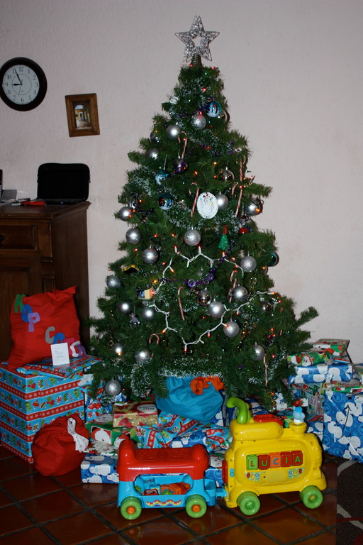 After the kids went to bed, we put ALL the gifts under the tree... there were more than we thought... of course many were sweet gifts to the kids from supporters, friends and family!