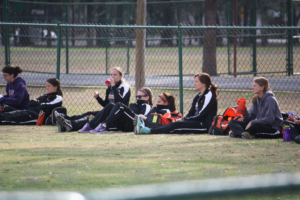 The women's team watching the men's team play in the morning.