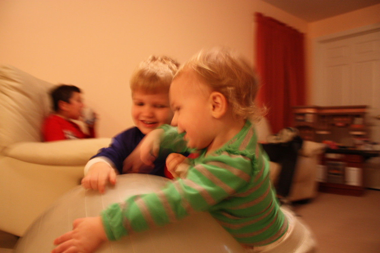 The two littlest cousins playing together. It was so sweet!