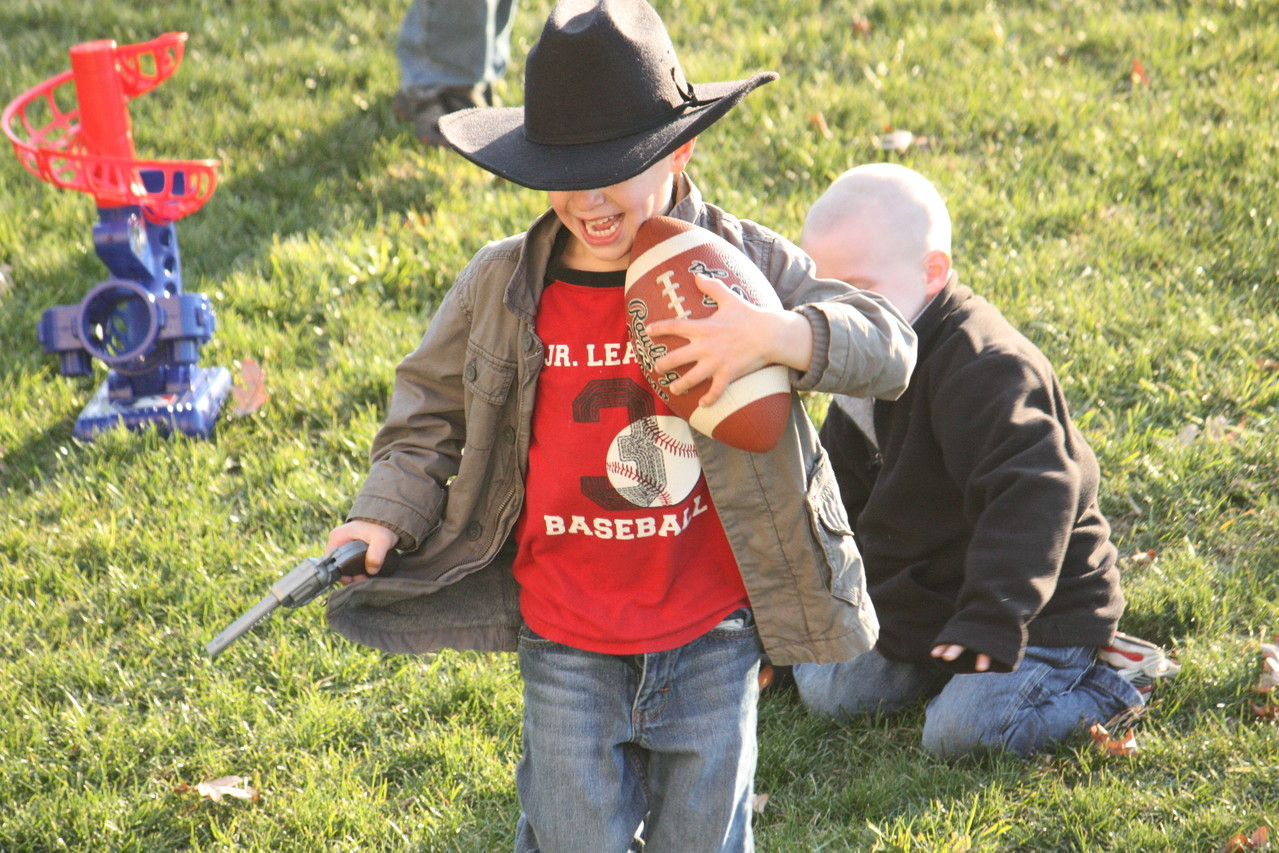 A little football game with the kids... My little cowboy playing