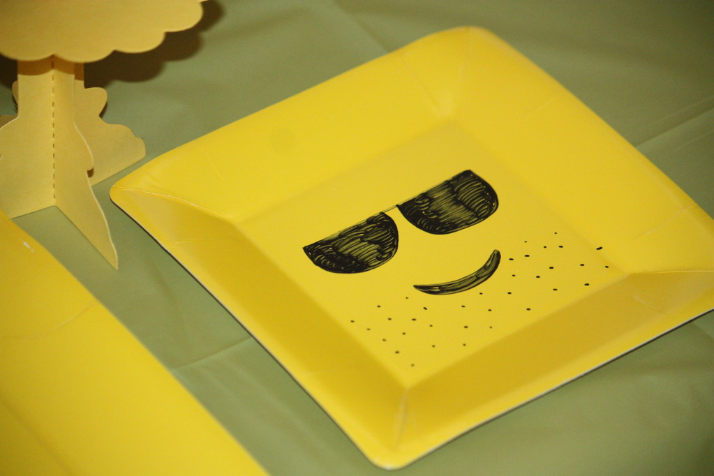 It was fun designing lego faces on the plates.