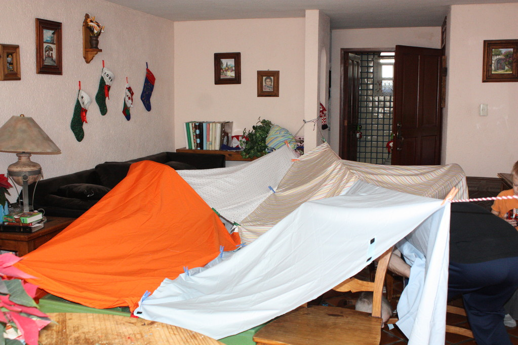 I made the kids fort kits for Christmas including glow sticks, flash lights, cloth pins and rope with two sheets each... this is what our house looked like after a little fort making time.