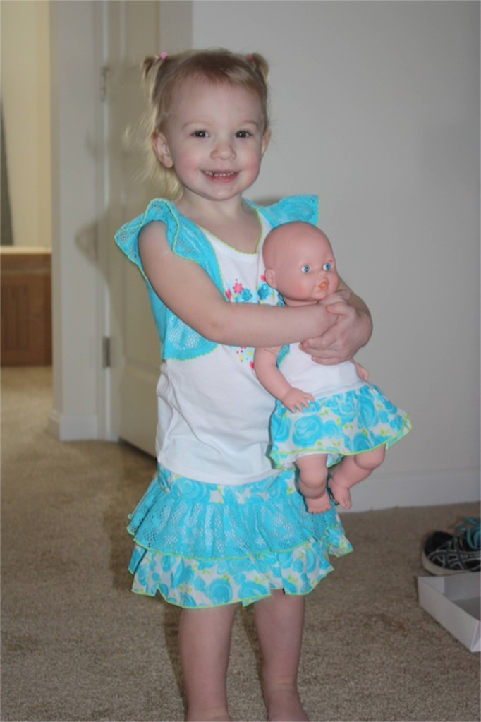 This was an outfit from grandma and a matching outfit for her babydoll!