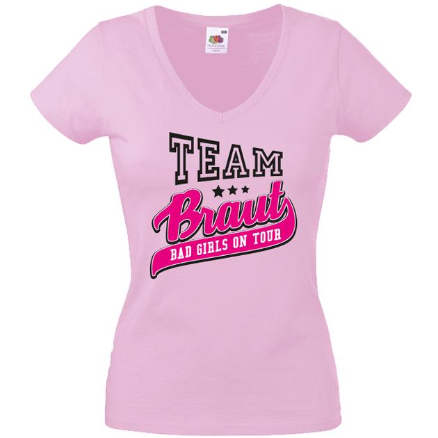 JGA T-Shirt Abschied Motiv Team Braut auf Abschiedstour