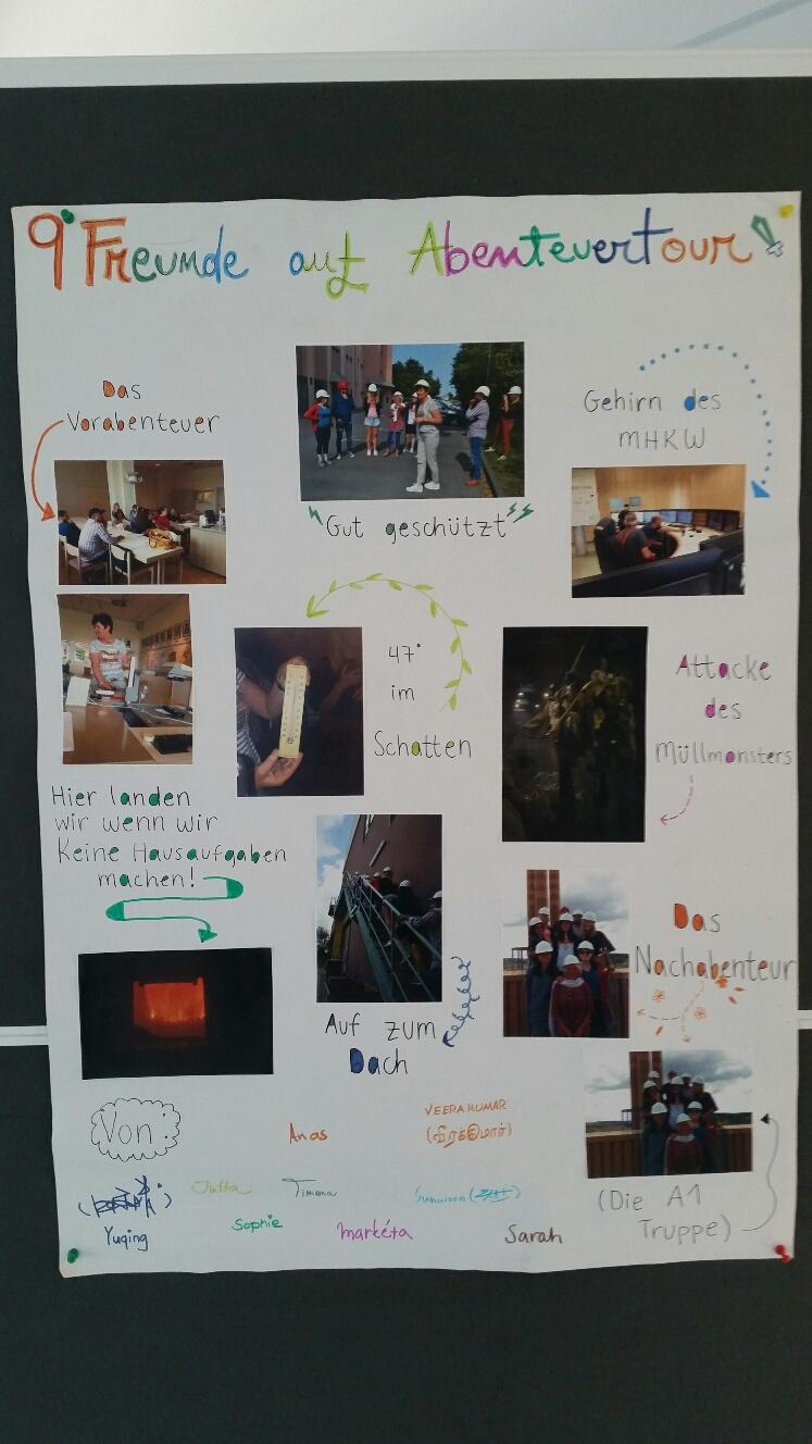 Deutsch lernen in Würzburg, Plakate Sprachkurs, Gruppenarbeit der internationalen Studierenden