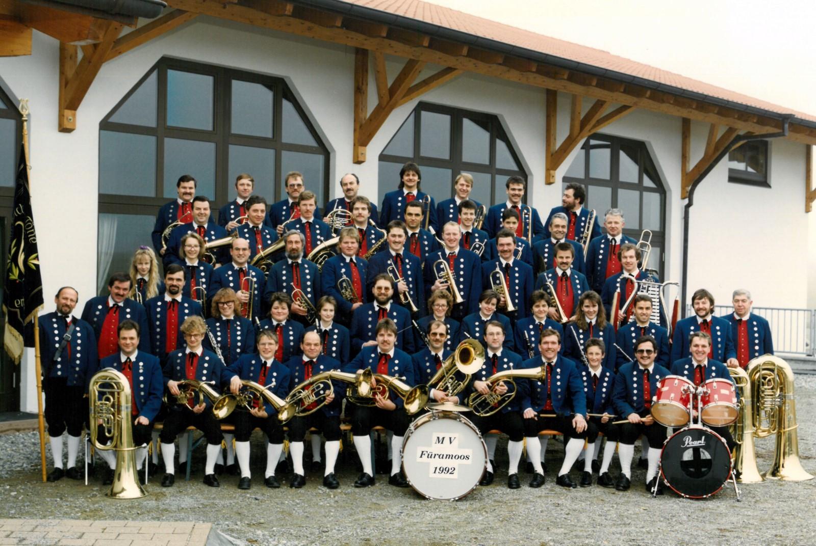 Musikverein Füramoos im Jahr 1992- Jubiläumskapelle Kreismusikfest 1992
