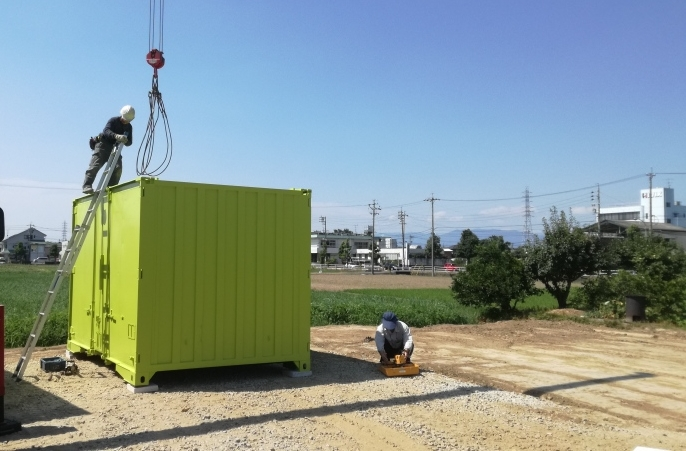 岐阜県瑞穂市 中古貨物用コンテナ12ftグリーン塗装設置