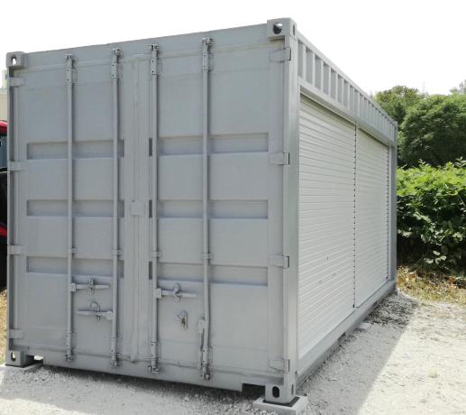 愛知県日進市 中古コンテナ20ftグレー塗装シャッター付設置