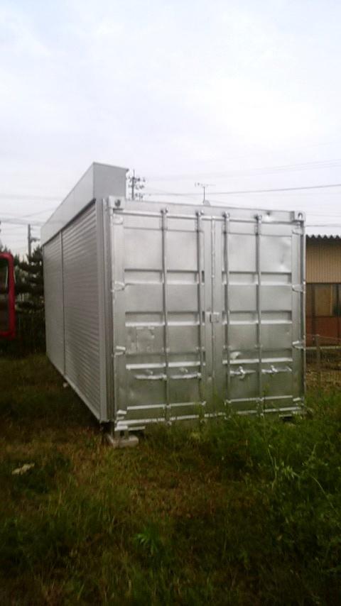 岐阜県瑞穂市 中古コンテナ20ftフルシャッター付きシルバー塗装納品