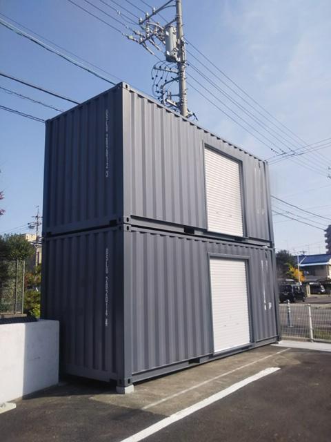 愛知県春日井市 NEWVANコンテナ20ftグレー2段積み納品
