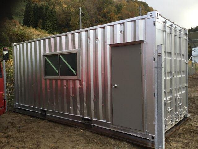 滋賀県草津市 中古コンテナ20ft フルシャッター付設置
