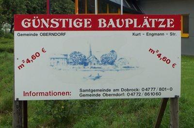 Schild Günstige Bauplätze Gemeinde Oberndorf 4,60 m²