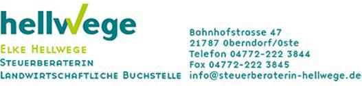 Hellwege Steuerberaterin Bahnhofstraße 47 21787 Oberndorf Telefon 04772-22 3845 E-Mail info@steuerberaterin-hellwege.de