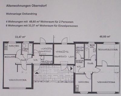 Grundriss der 1 und 2 Zimmer-Altenwohnngen im Ostlandring, Oberndorf