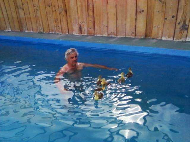 Yo con ellos en la piscina - Moi avec eux dans la piscine