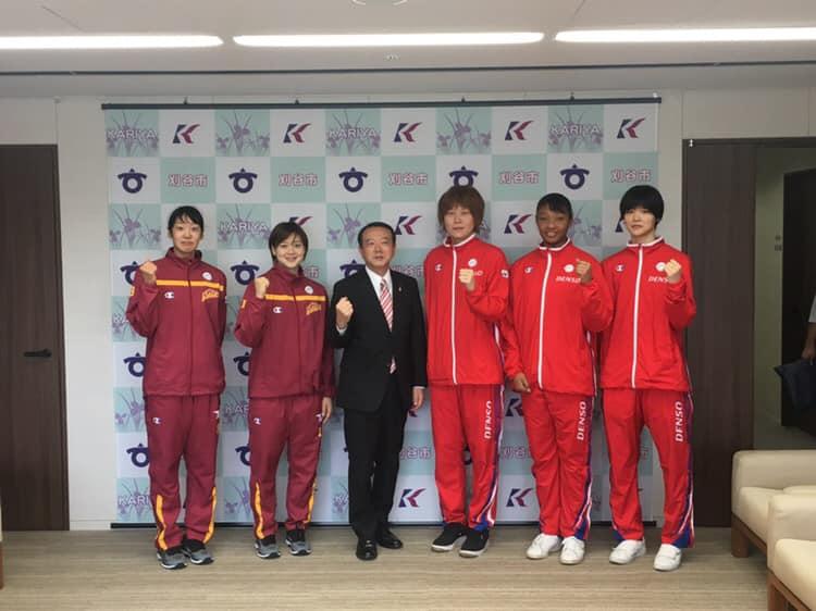 野町選手、川原選手、川口副市長、髙田選手、オコエ選手、赤穂ひまわり選手