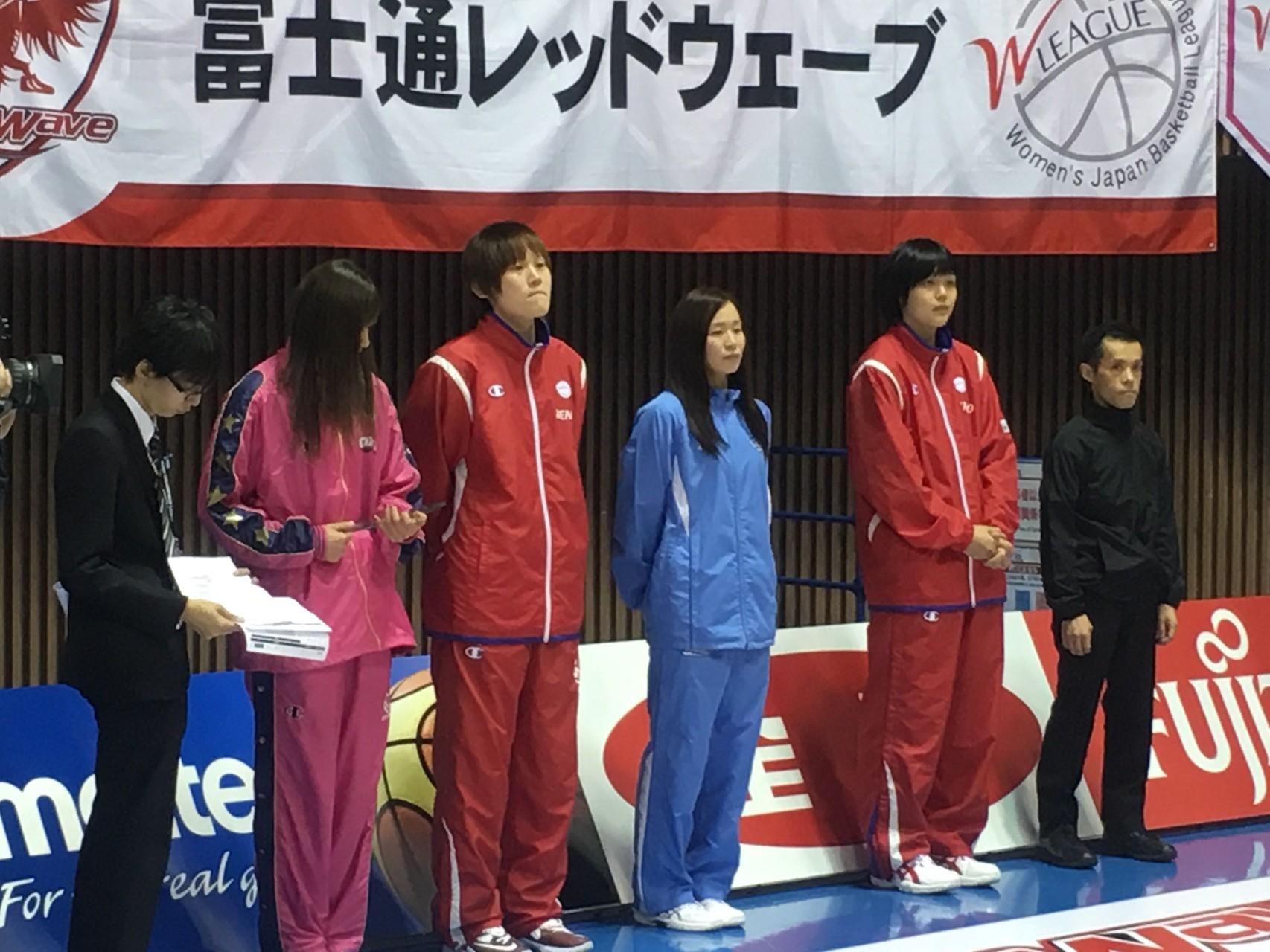 授賞式を待つ、髙田真希選手と赤穂さくら選手