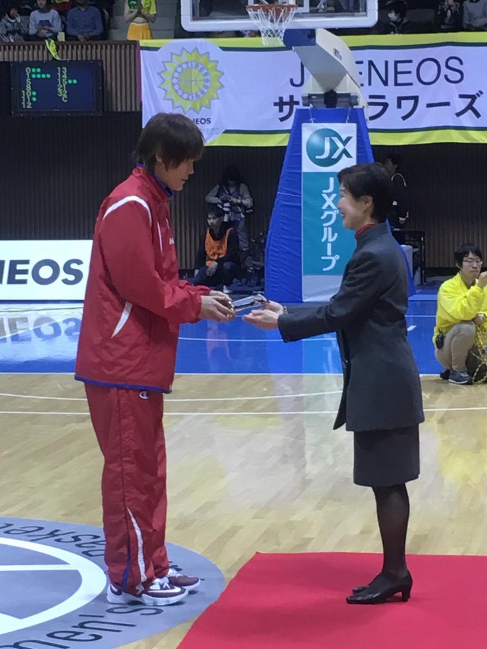 髙田真希選手 リバウンド王受賞