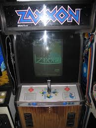Zaxxon was released to arcades in 1982. It is the first game to simulate a 3D perspective. It is also the first game to have a TV commercial.