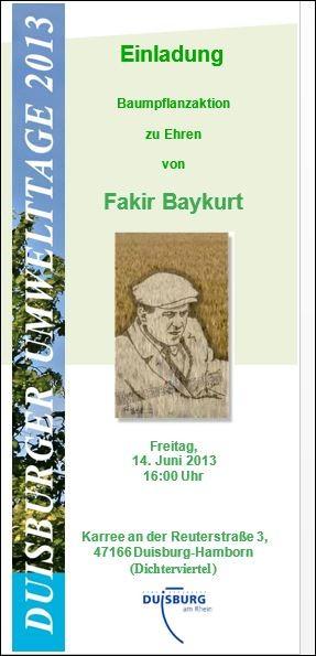 Flyer-Detail Baum-Pflanzaktion zu Ehren Fakir Baykurt.