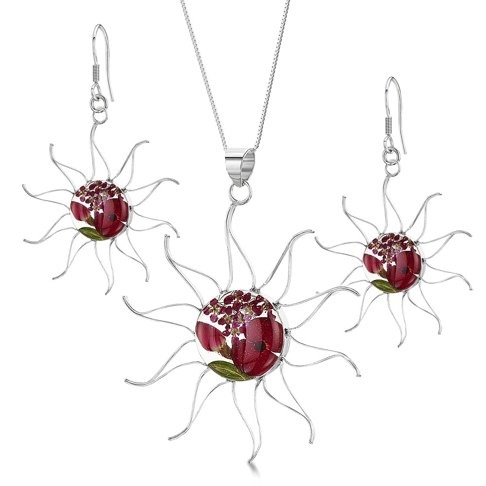 Silberschmuck mit echten Blumen: Kette, Anhänger & Ohrringe - Mohn & Rose - S...