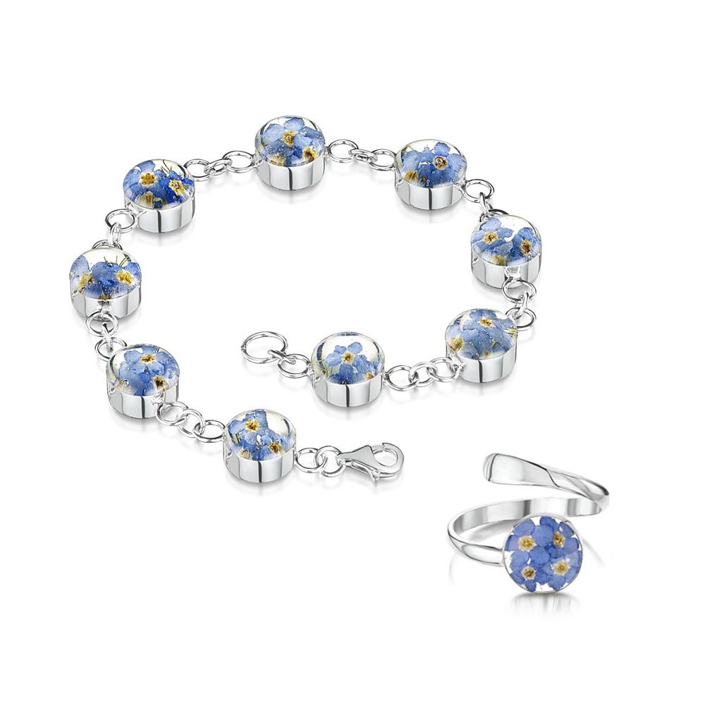 Silberschmuck mit echten Blumen: Armband & Ring - blaue Vergissmeinnicht - ru...