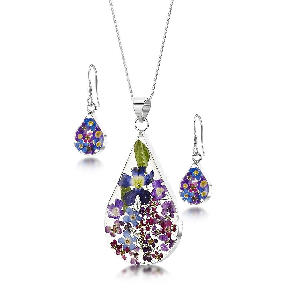 Silberschmuck mit echten Blumen: Tropfen-Anhänger - blaue & lila Vergissmeinn...