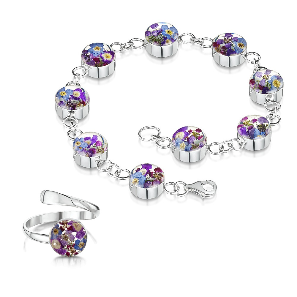 Silberschmuck mit echten Blumen: Armband & Ring - blaue & lila Vergissmeinnic...