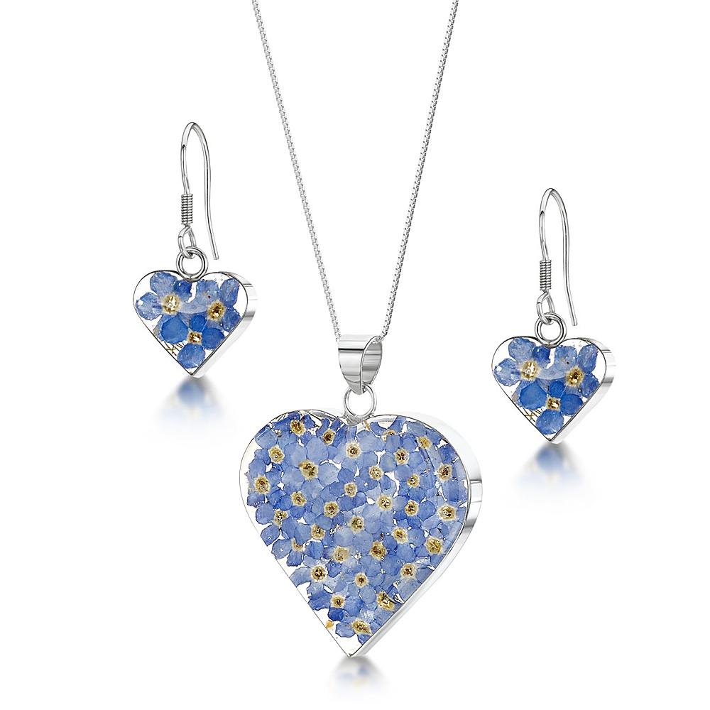 Silberschmuck mit echten Blüten - Anhänger Herz - blaue Vergissmeinnicht (Set...