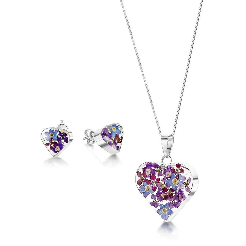 Silberschmuck mit echten Blumen: Herz-Anhänger - blaue & lila Vergissmeinnich...