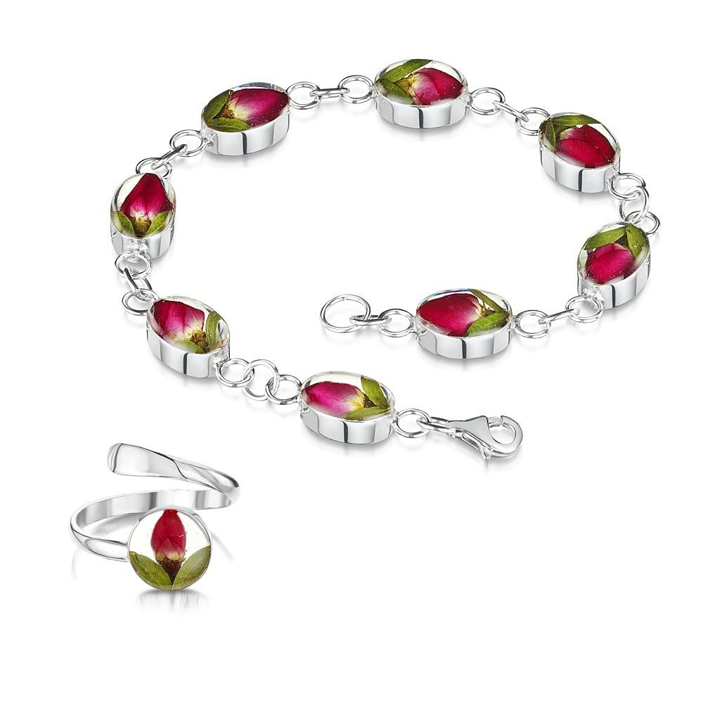 Silberschmuck mit echten Blumen: Armband & Ring - mini Rosenblüte - oval - in...