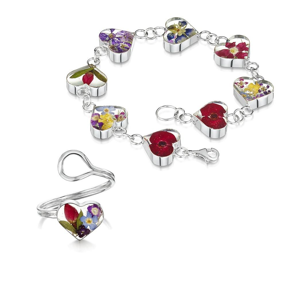 Silberschmuck mit echten Blumen: Armband & Ring - Gemischte Blüten - Herz - i...