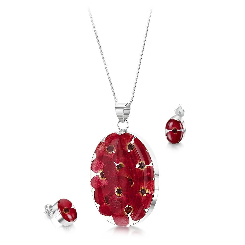 Silberschmuck mit echten Blumen: Kette, Anhänger & Ohrringe - rote Mohnblüten...