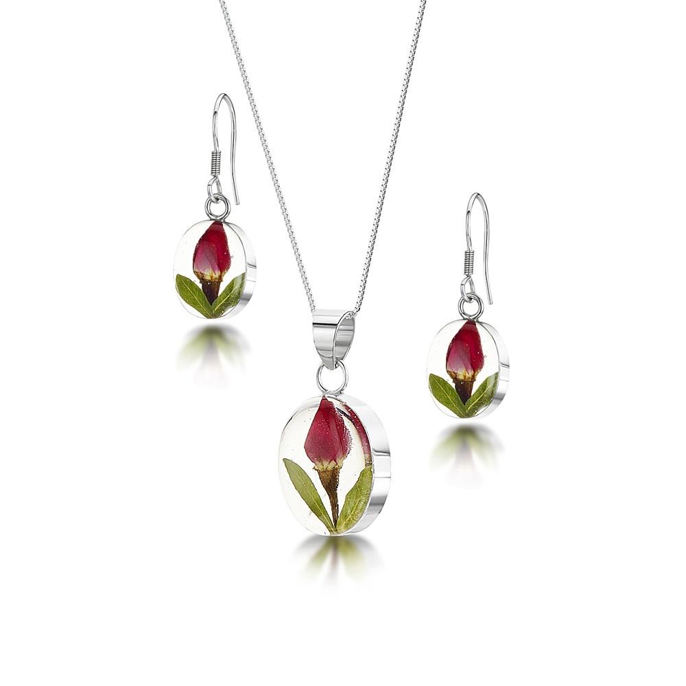 Silberschmuck mit echten Blumen: Kette, Anhänger & Ohrringe - mini Rosenblüte...