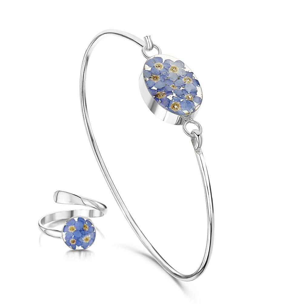 Silberschmuck mit echten Blumen: Armreif & Ring - blaue Vergissmeinnicht - ru...
