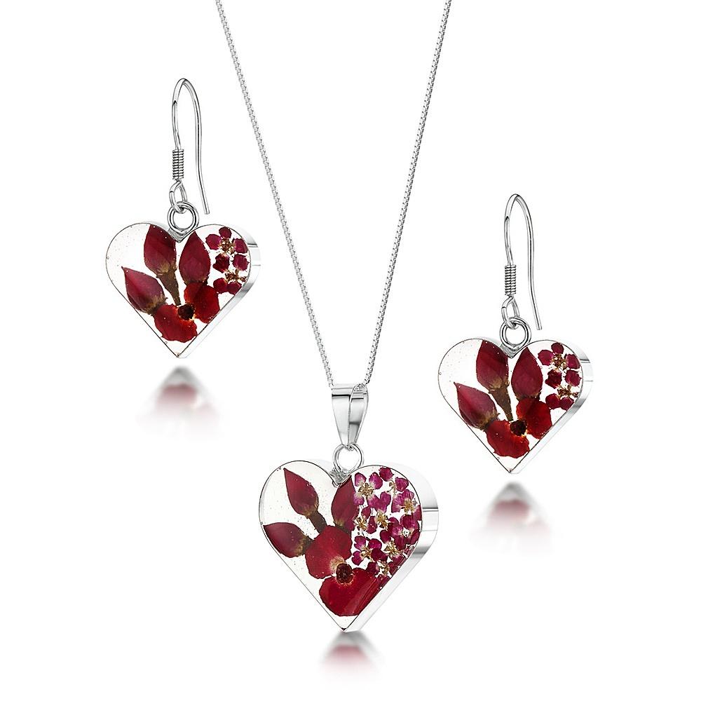 Silberschmuck mit echten Blumen: Kette, Anhänger & Ohrringe - Mohn & Rose - H...