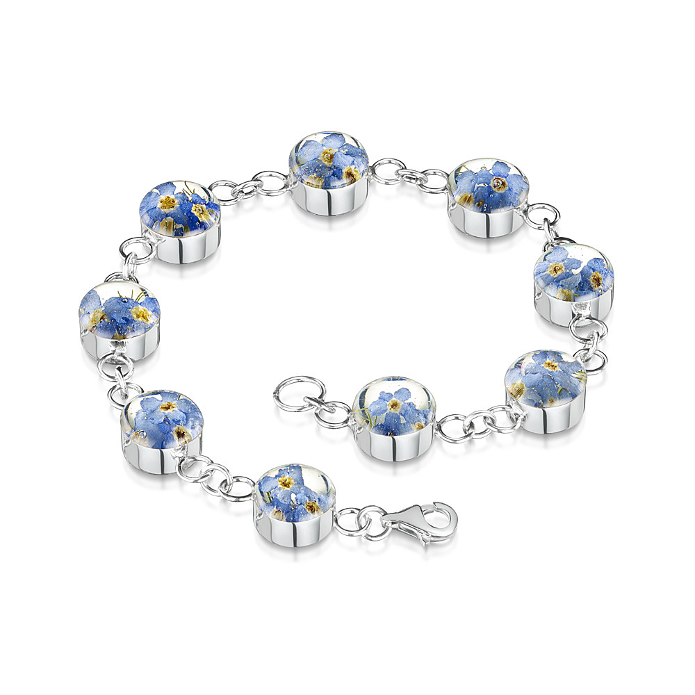 Armband Sterling-Silber 925 Kettenglieder rund echte Vergissmeinnichtblüten e...