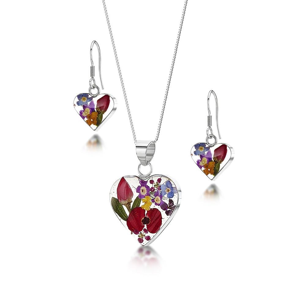 Silberschmuck mit echten Blumen: Kette, Anhänger & Ohrringe - Gemischte Blüte...