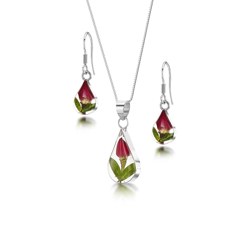 Silberschmuck mit echten Blumen: Kette, Anhänger - mini Rosenblüte - Tropfen ...