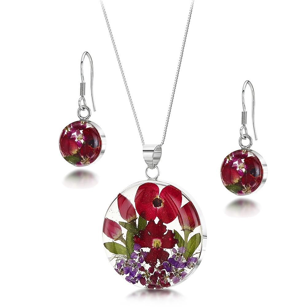 Silberschmuck mit echten Blumen: Kette, Anhänger & Ohrringe - Mohn & Rose - r...