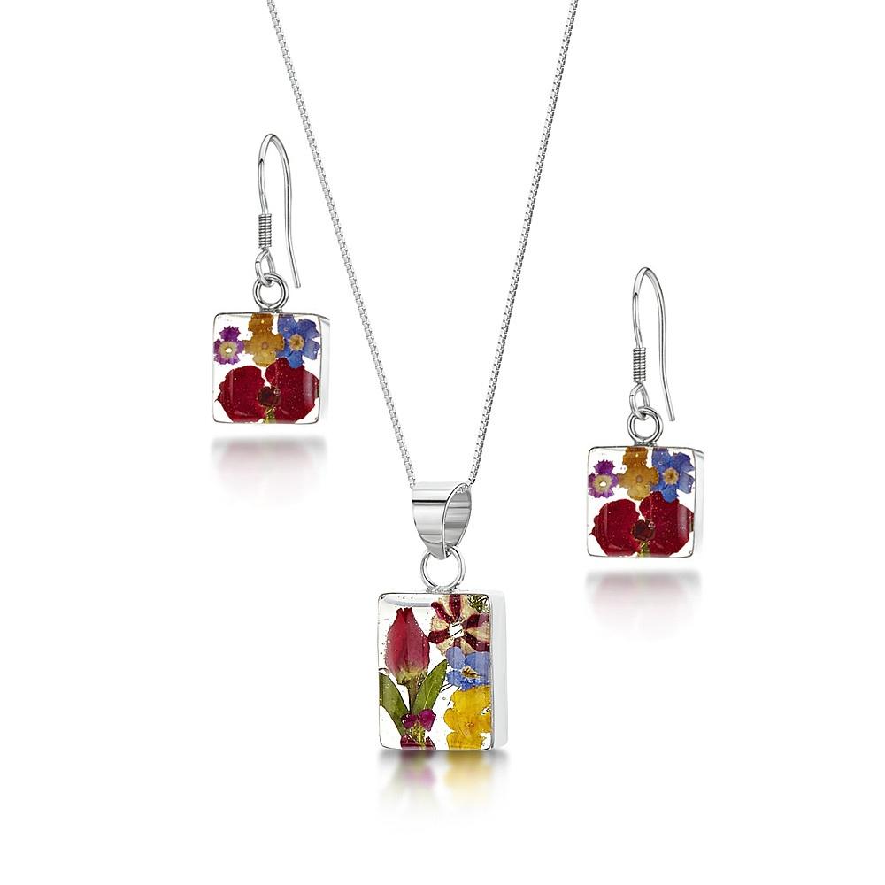 Silberschmuck mit echten Blüten - Anhänger rechteckig - gemischte mini-Blüten...