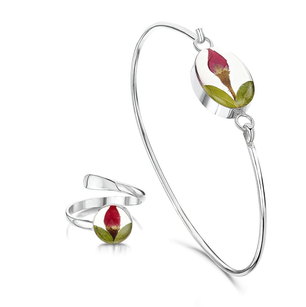 Silberschmuck mit echten Blumen: Armreif & Ring - mini Rosenblüte - oval - in...