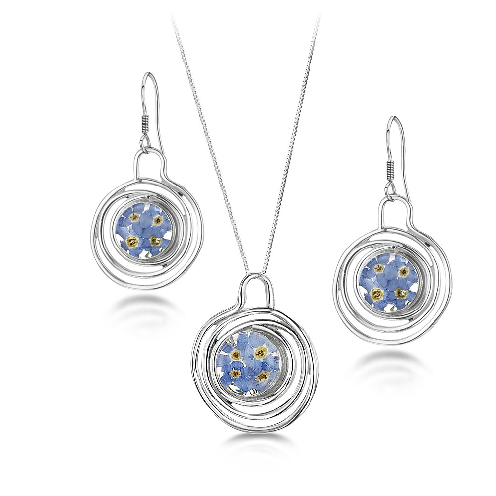 Silberschmuck mit echten Blumen: Kette, Anhänger & Ohrringe - blaue Vergissme...