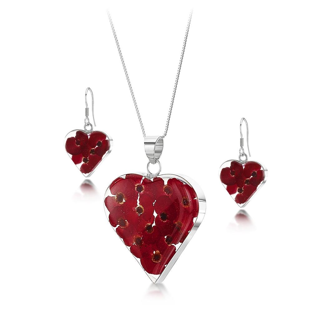 Silberschmuck mit echten Blumen: Kette, Anhänger - rote Mohnblüten - Herz - m...