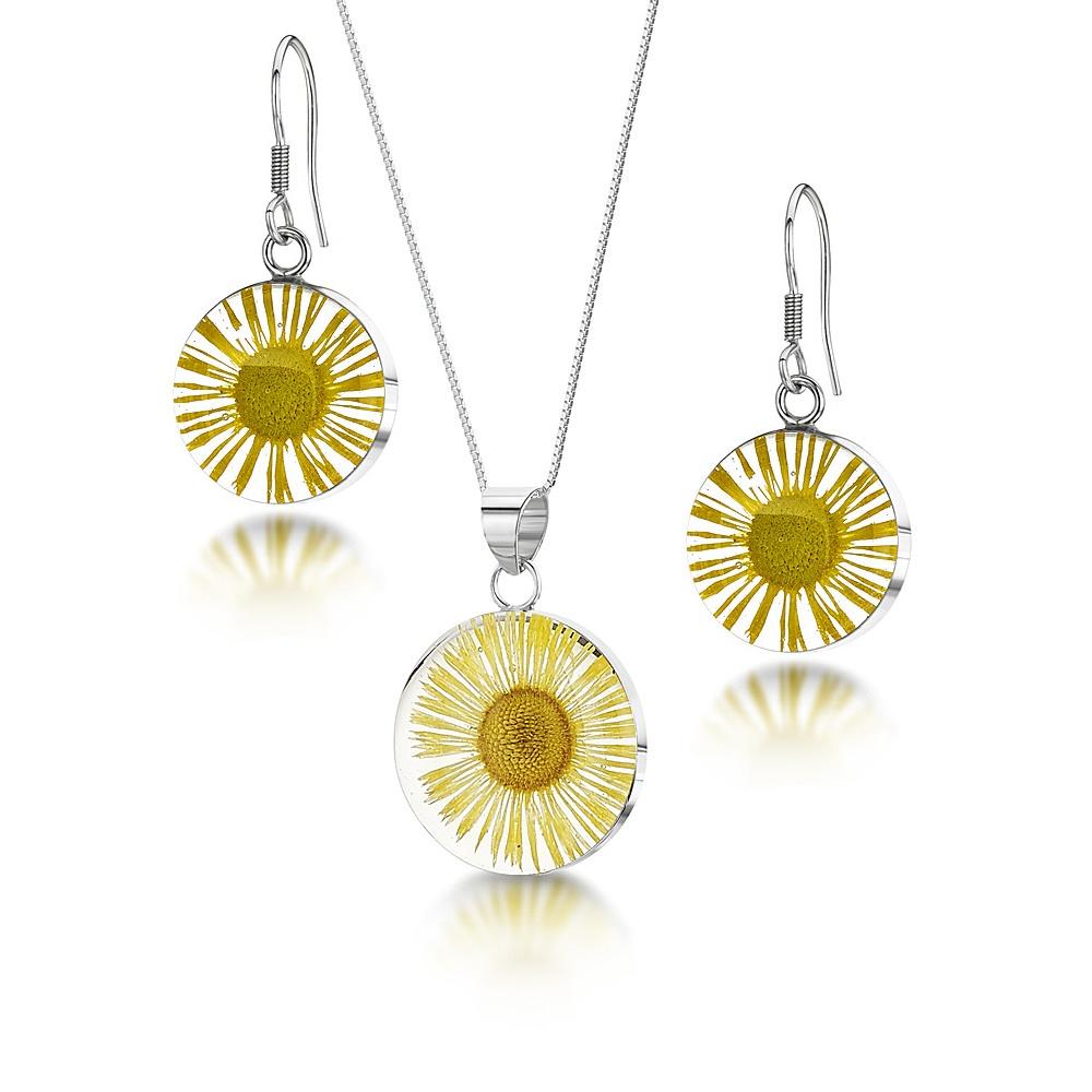 Silberschmuck mit echten Blüten - Kette 45cm, Anhänger - Gänseblümchen (Gelb ...