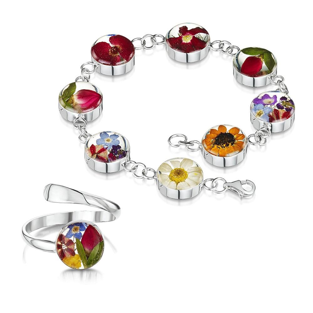 Silberschmuck mit echten Blumen: Armband & Ring - Gemischte Blüten - rund - i...