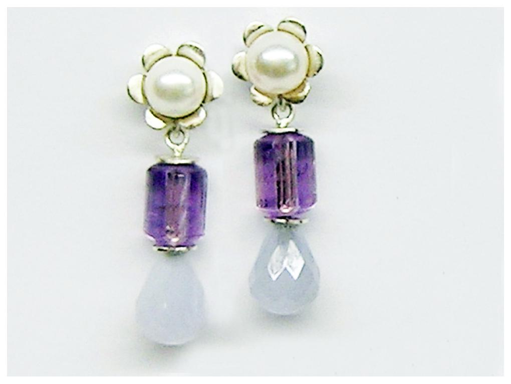 Silber Hänge,r als Stecker zu tragen, Calcedon Pampel, Amethyst Perle, Blümchen mit weißer Zuchtperle.