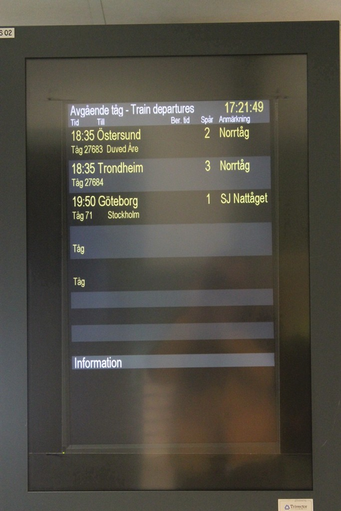 19:50 Uhr ging der Zug nach Stockholm