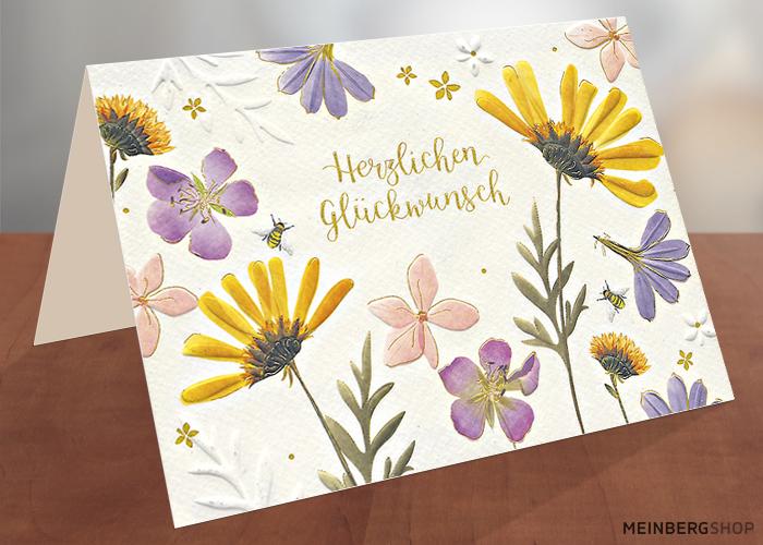 Herzlichen Glückwunsch Blüten Klappkarte