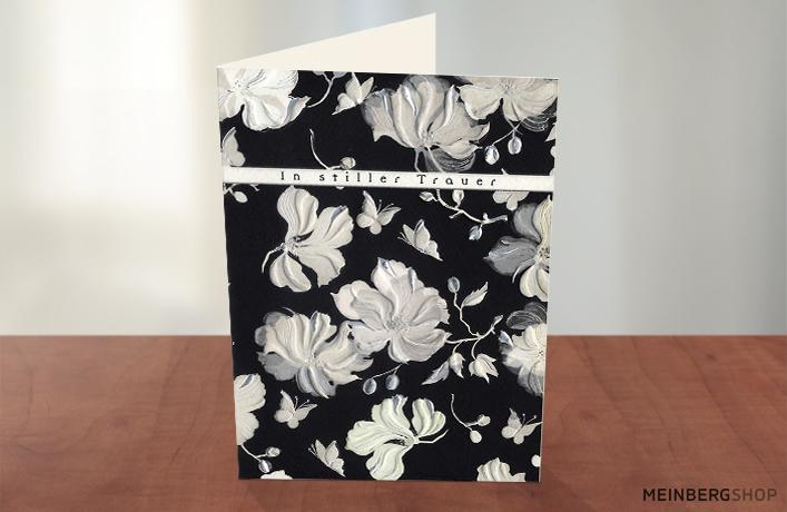 Kondolenz Trauerkarte In stiller Trauer schwarz-weiß